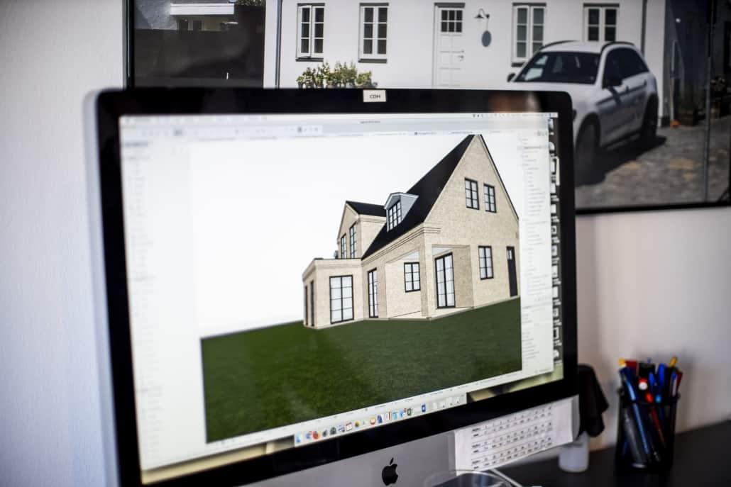 Hus igang med at blive tegnet